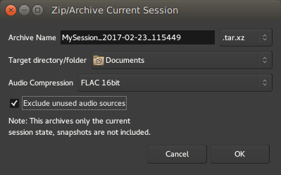 The Zip/Archive Current Session window