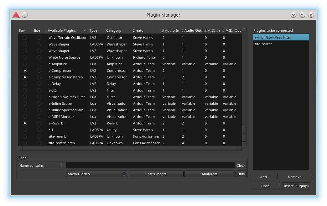 Plugin Manager window